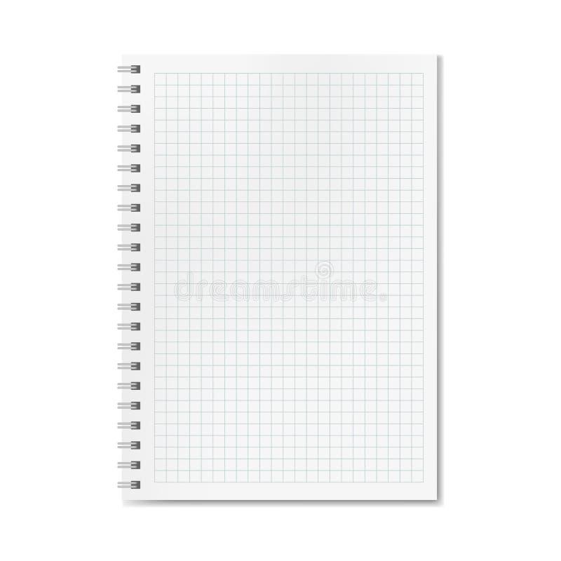 Vector realistisch quadrille of grafiek beslist notitieboekje stock illustratie