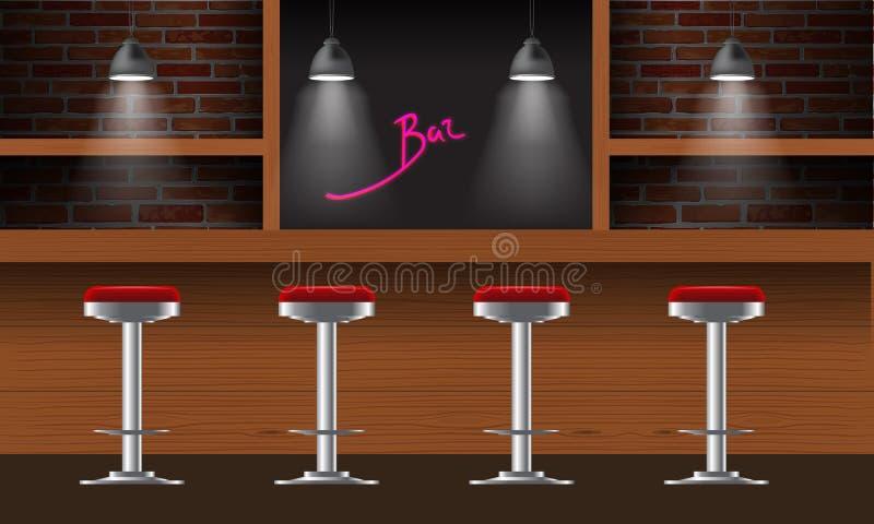 Vector realistische Bar, Kneipeninnenraum mit Backsteinmauern, hölzernen Zähler, Stühle, Regale und Lampen mit Strahl lizenzfreie abbildung
