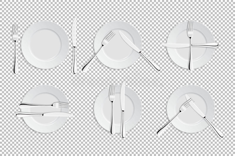 Vector realistische bestek en tekens van lijstetiquette De pictogrammen van cateringsfaciliteiten Reeks van vorken, lijstmessen royalty-vrije illustratie