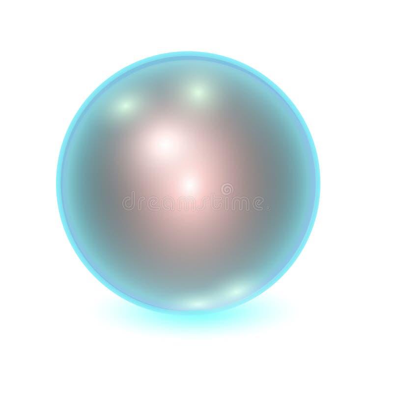 Vector realistische blauwe metallbal vector illustratie