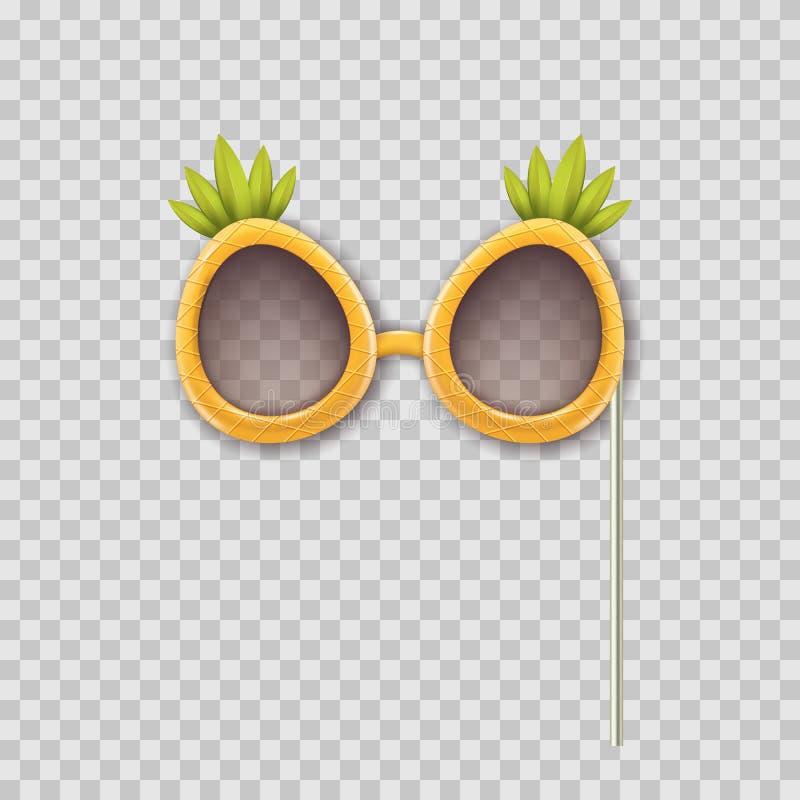 Vector realistische 3d illustratie van de glazen van de de steunenananas van de fotocabine Voorwerp op transparante achtergrond w vector illustratie