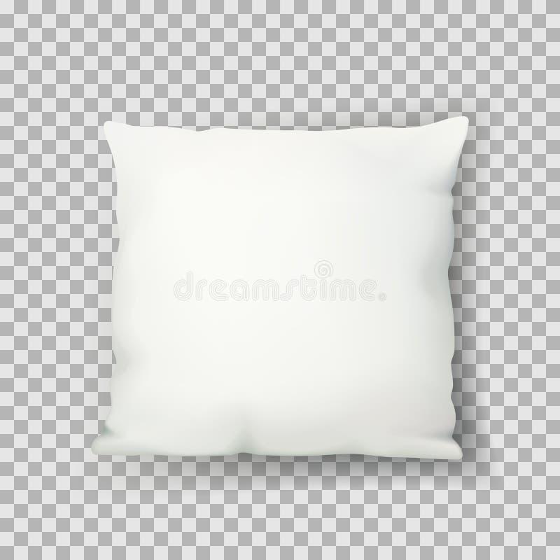 Vector realistische 3d illustratie van wit vierkant slaaphoofdkussen Van de katoenen pictogram kussen het hoogste mening Spot op  stock illustratie