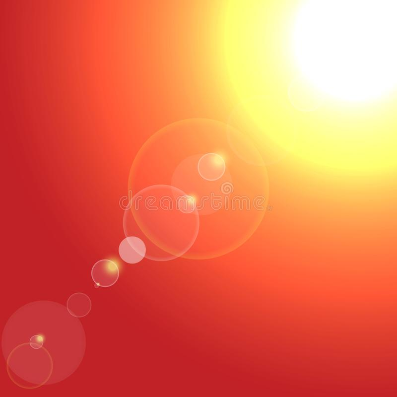Vector Realistische die zon met gloed op rode achtergrond is gebarsten stock illustratie