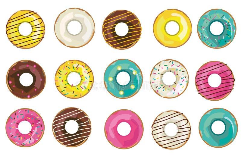 Vector realistische donutsinzameling, reeks ge?soleerde voorwerpen op de witte achtergrond vector illustratie