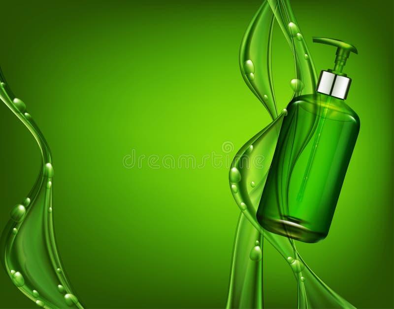 Vector realistische, grüne, transparente Flasche 3d mit Seifenpumpe O vektor abbildung