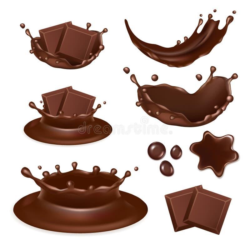 Vector realistische het pictogramreeks van de chocoladevorm royalty-vrije illustratie