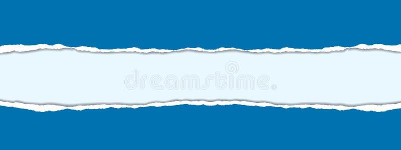 Vector realistische illustratie van blauw gescheurd document met schaduw royalty-vrije illustratie