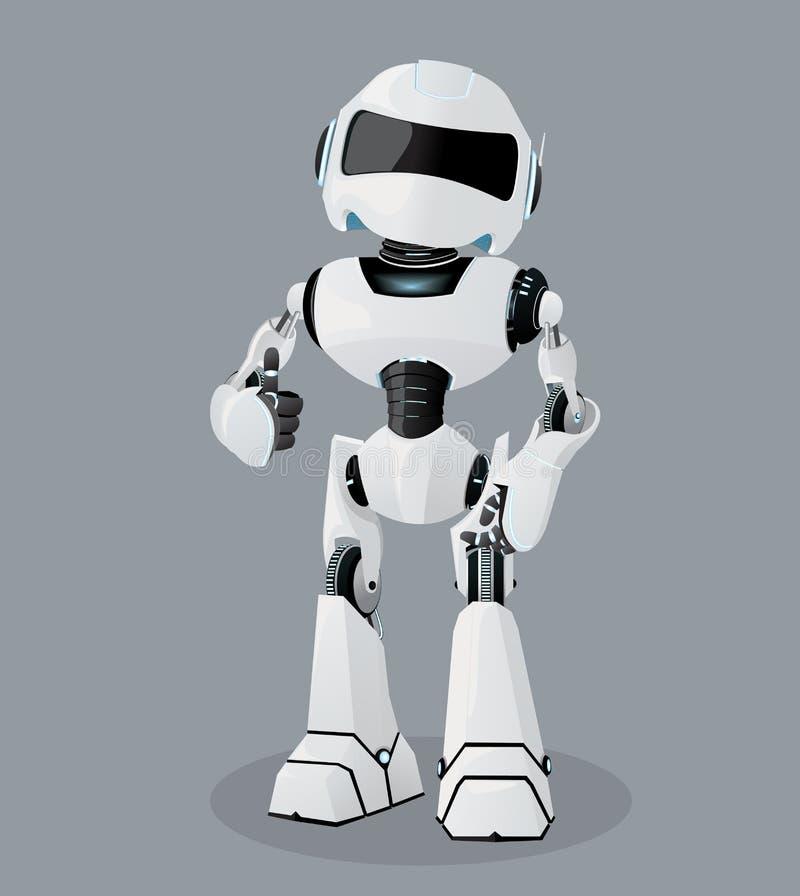 Vector realistische illustratie van de witte robot Robothoogtepunt van enthousiasme royalty-vrije illustratie