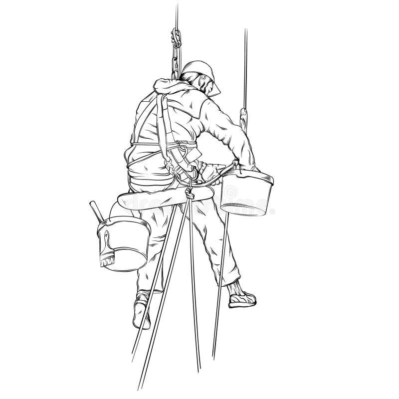 Vector realistische illustratie van decorateur in het werk proces stock illustratie