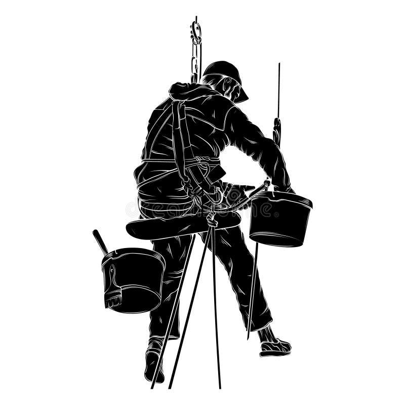 Vector realistische illustratie van decorateur in het werk proces vector illustratie