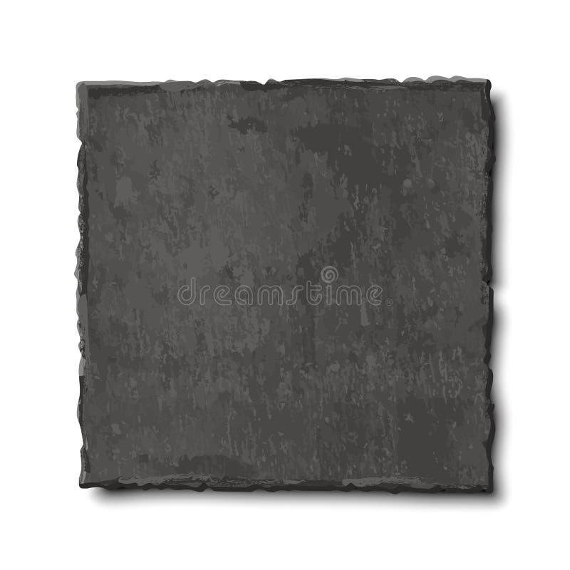 Vector realistische illustratie van donkere grijze die leiplaat op witte achtergrond wordt geïsoleerd Steen lege schotel, voedsel vector illustratie