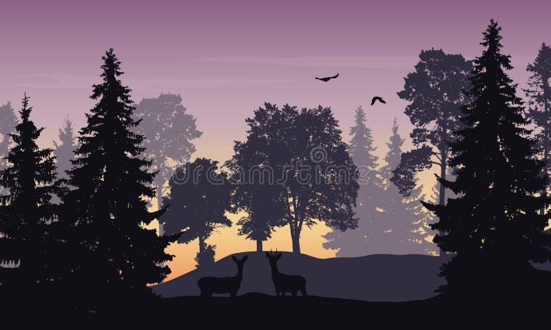 Vector realistische illustratie van een vergankelijk bos met damhinde vector illustratie
