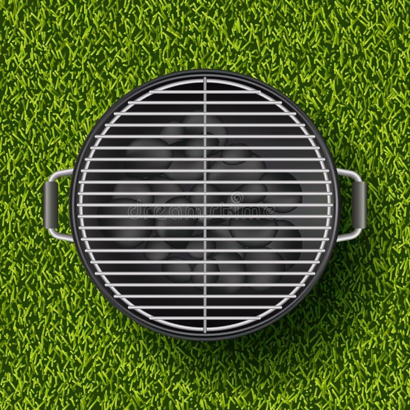 Vector realistische Illustration 3d des Grillgrills auf Rasen des grünen Grases Frühling, Sommer bbq-Picknick im Park vektor abbildung