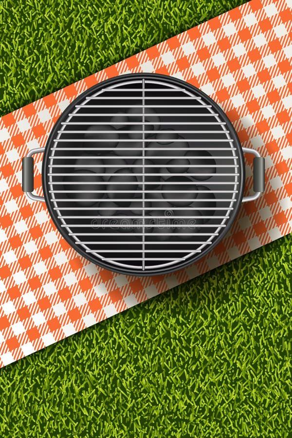 Vector realistische Illustration 3d des Grillgrills, rotes Plaid auf Rasen des grünen Grases Bbq-Picknick im Park stock abbildung