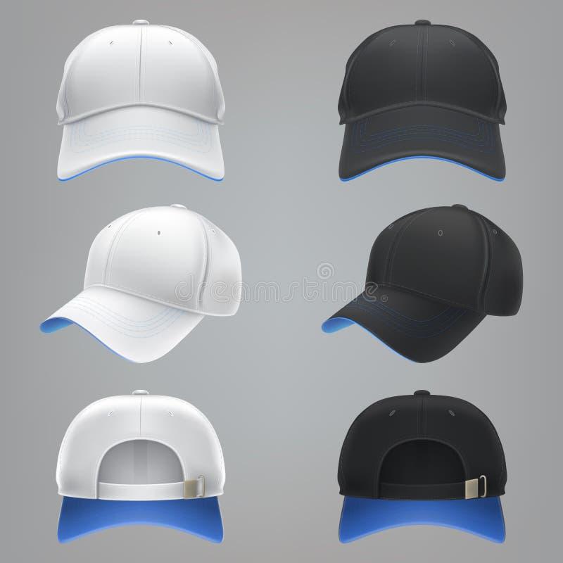 Vector realistische Illustration einer weißen und schwarzen Textilbaseballmützefront, der Rückseite und der Seitenansicht lizenzfreie abbildung