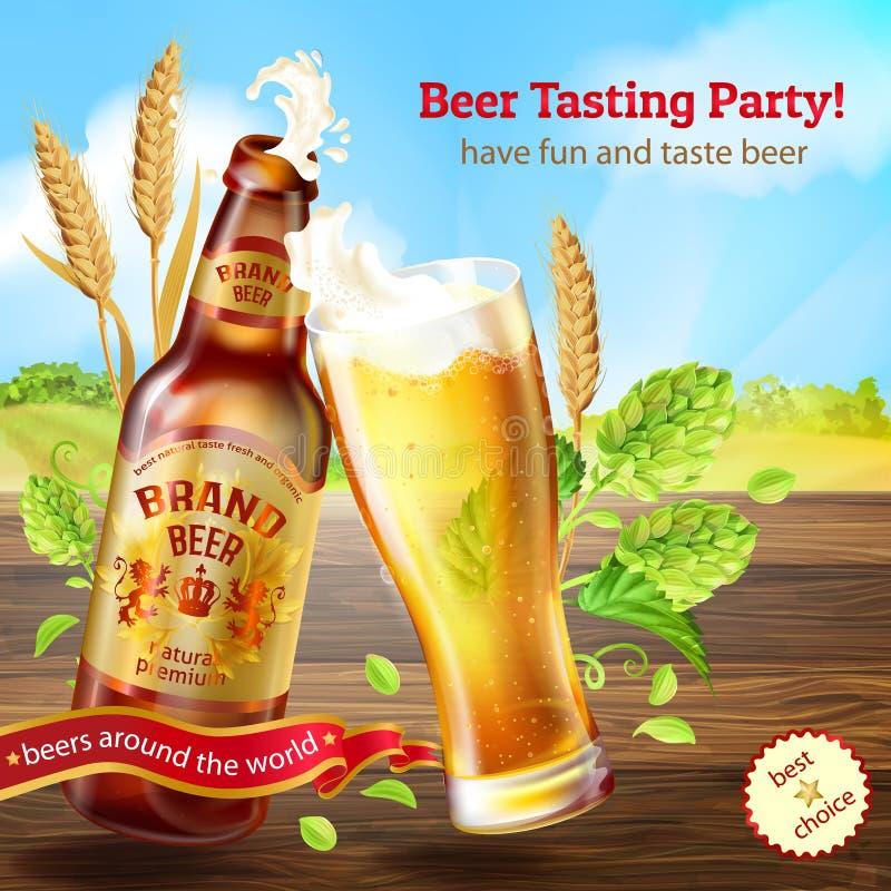 Vector realistische kleurrijke achtergrond met bruine fles bier, bevorderingsbanner met glas van schuimende alcoholische drank stock illustratie