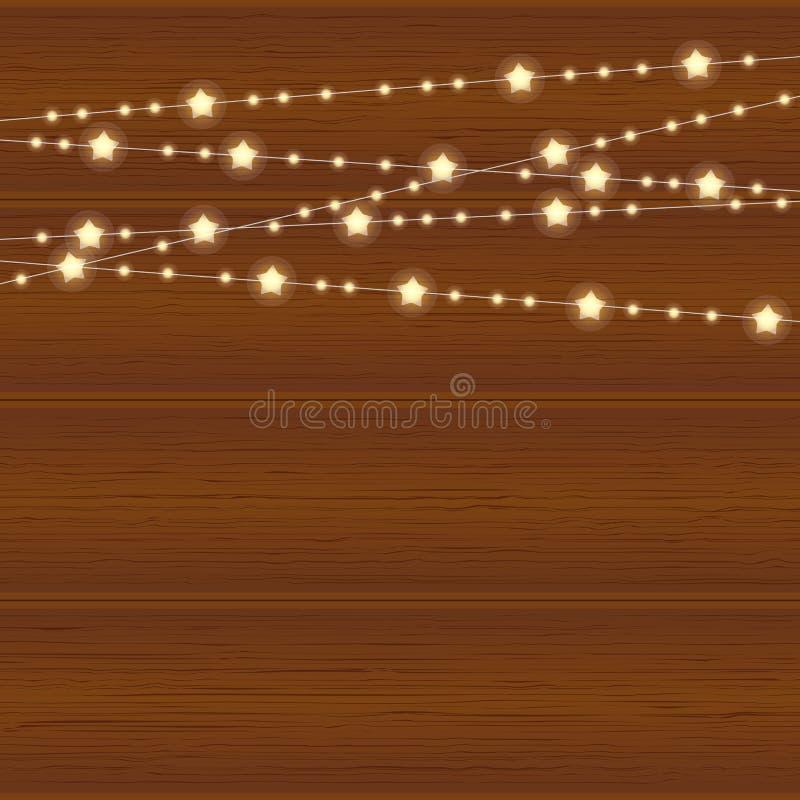 Vector realistische lantaarnslinger op houten achtergrond met sneeuwvlokken royalty-vrije illustratie