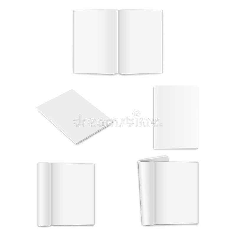 Vector realistische leere geschlossene und geöffnete vertikale Zeitschrift A4 des Papiers, Buch, Katalog oder Broschüre mit gerol lizenzfreie abbildung