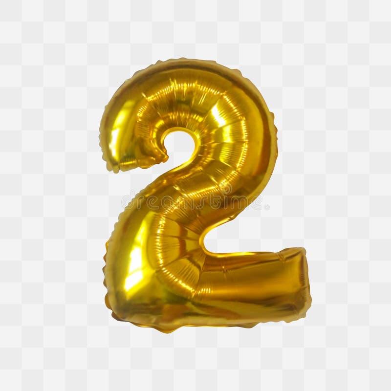 Vector realistische metaal gouden brievenballon Nummer twee stock illustratie