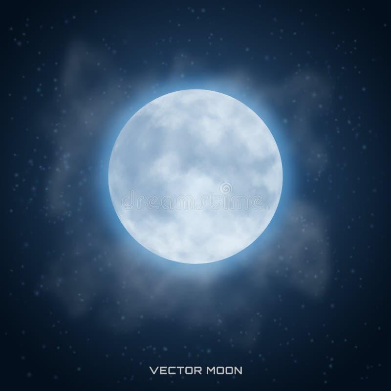 Vector realistische mooie maan met gloedeffect op kosmische backg vector illustratie