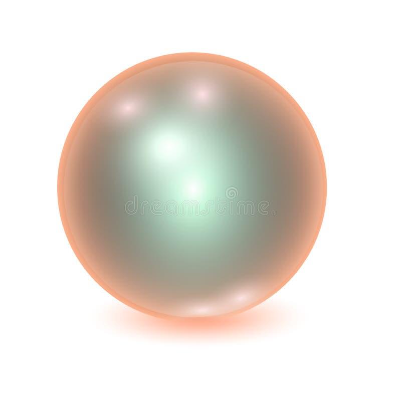 Vector realistische oranje metallbal royalty-vrije illustratie