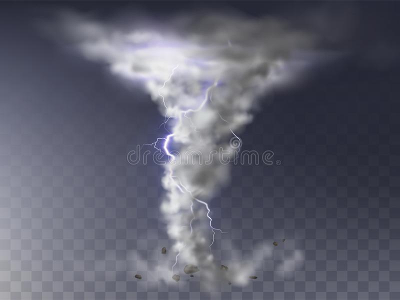 Vector realistische orkaan, tornado met bliksem vector illustratie