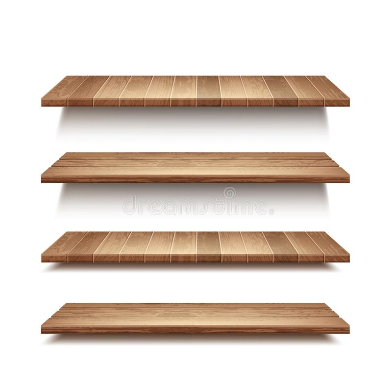 Vector realistische reeks lege houten die planken op muurachtergrond wordt geïsoleerd stock illustratie