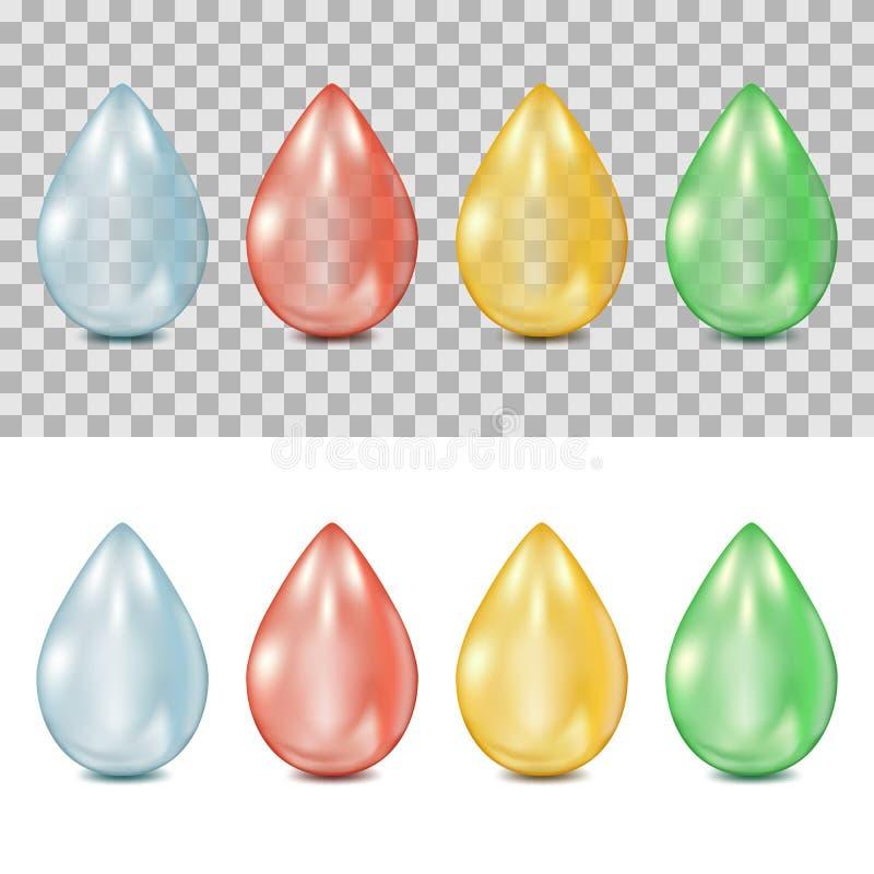 Vector realistische Tropfen 3d auf transparentem und weißem Hintergrund Tröpfchen des Wassers, Blut, Öl, Grünpflanzesaft lizenzfreie abbildung