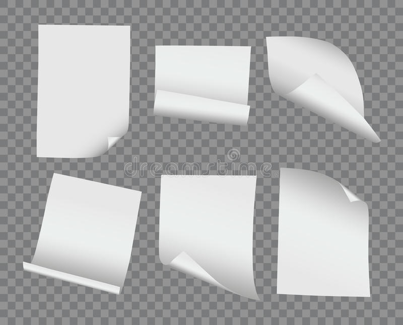 Vector realistische verbogene und gekräuselte Papiersammlung des freien Raumes auf Transport vektor abbildung