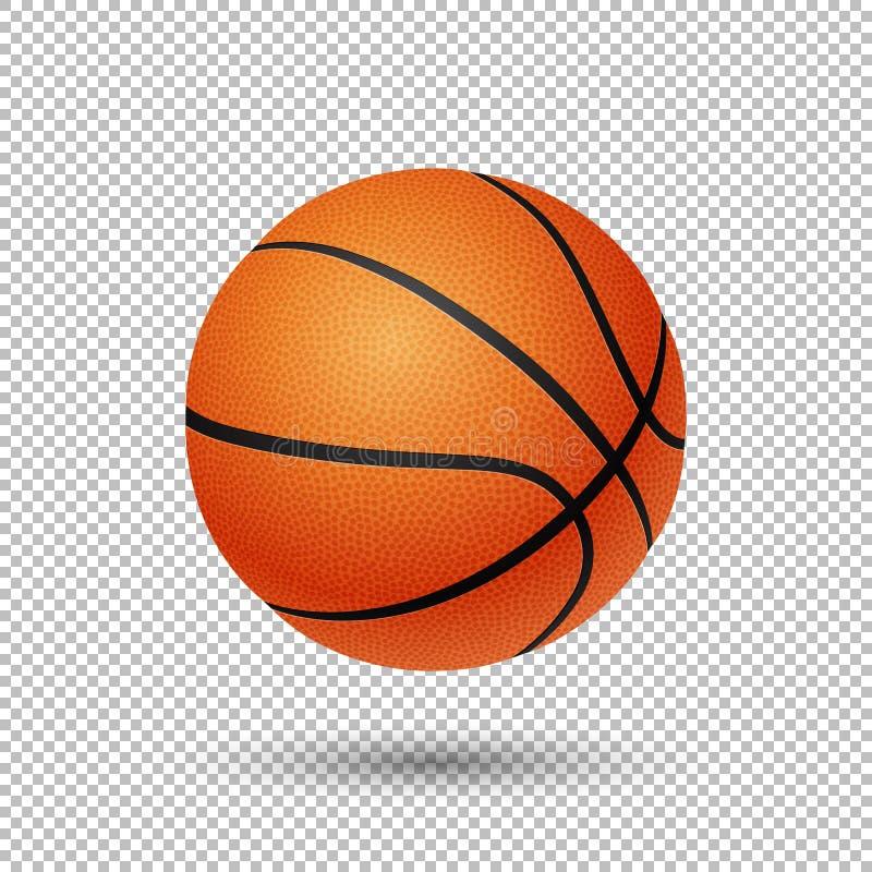 Vector realistische vliegende basketbalclose-up op transparante achtergrond Ontwerpmalplaatje in EPS10 royalty-vrije illustratie