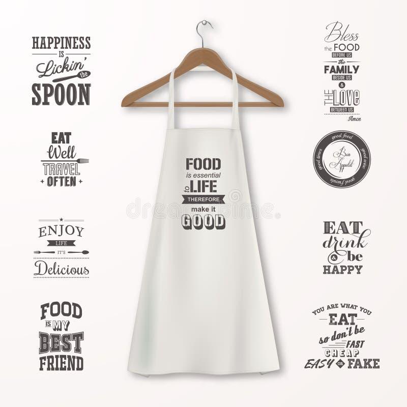 Vector realistische witte katoenen keukenschort met kleren houten hanger en citaten over voedsel vastgestelde close-up  stock illustratie