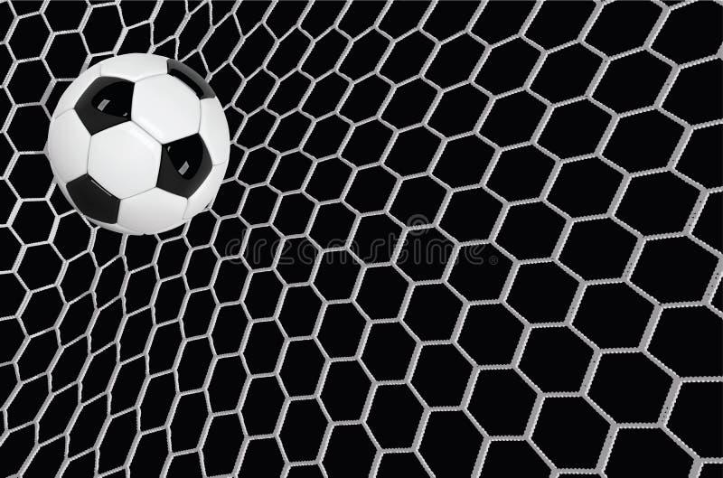 Vector realistischen Fußball- oder Fußballball im Netz auf schwarzem Hintergrund Ball Vektor der Art 3d vektor abbildung