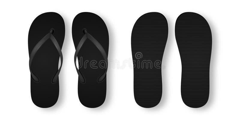Vector realistisches 3d schwarzen leeren leeren Flip Flop Set Closeup Isolated auf weißem Hintergrund Design-Schablone des Sommer lizenzfreie abbildung