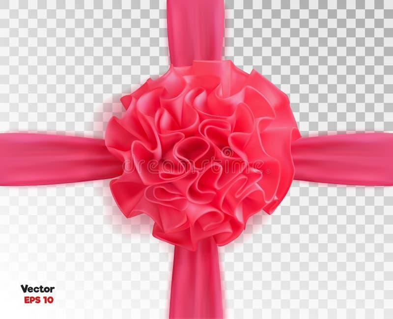 Vector realistisches Seidenband des Rosas 3d mit transparentem Hintergrund des Bogens lizenzfreie abbildung