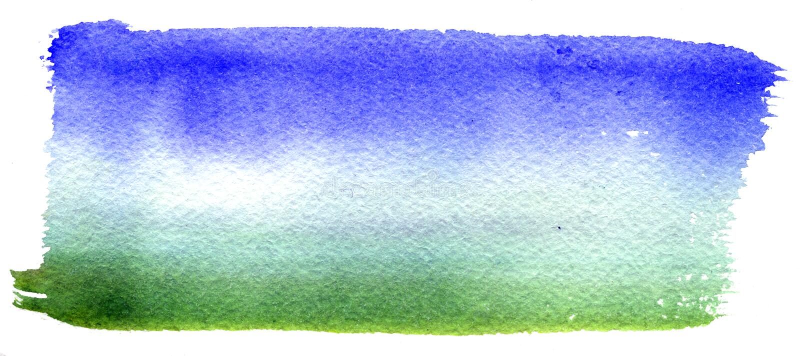 Vector rechthoekige blauwe waterverfdaling De abstracte die verf van de kunsthand op witte achtergrond wordt geïsoleerd royalty-vrije stock afbeelding