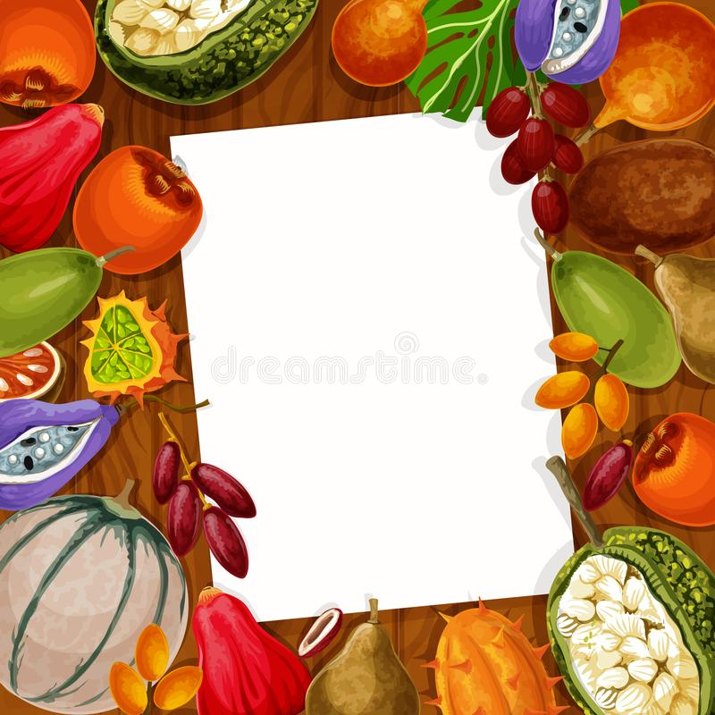 Vector recipe note of exotic tropical fruits stock illustration