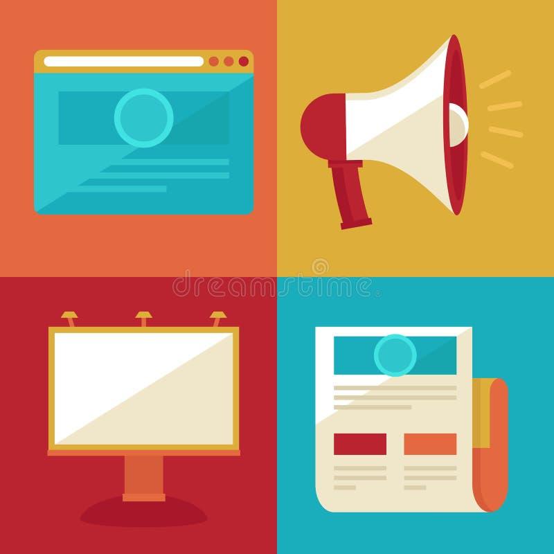 Vector reclame en bevordering vlakke pictogrammen stock illustratie