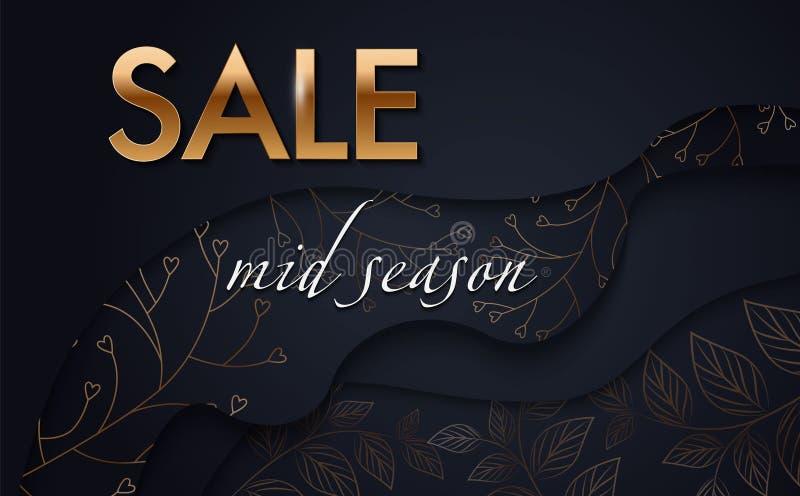 Vector reclamebanner met gouden en zwarte tropische bladeren en gouden VERKOOPwoord op zwarte Exotisch plantkundeontwerp voor vro royalty-vrije illustratie