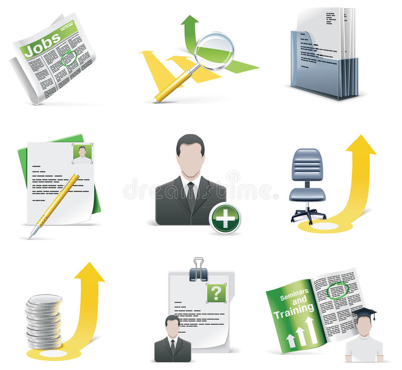 Vector recruiting icon set stock illustration