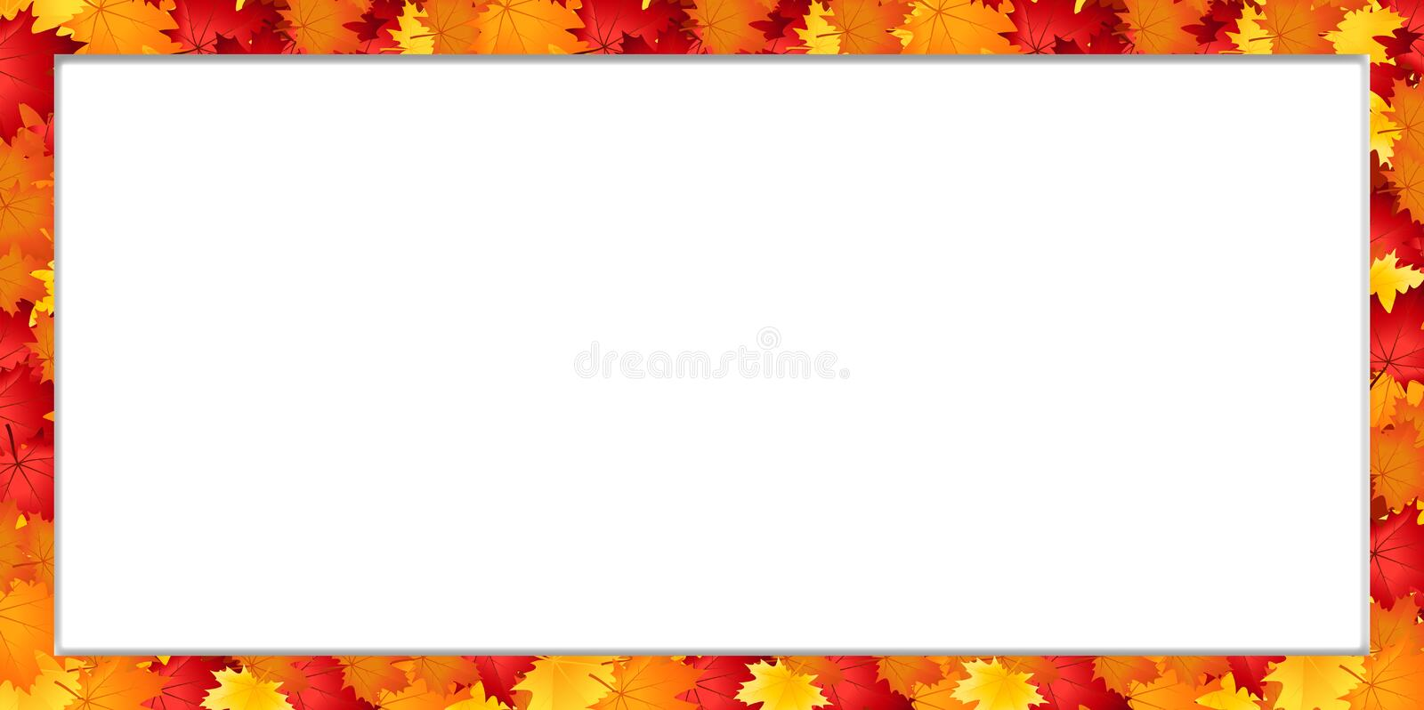 Vector rectangle border frame with fallen autumn maple leaves on white background with copy space stock illustration