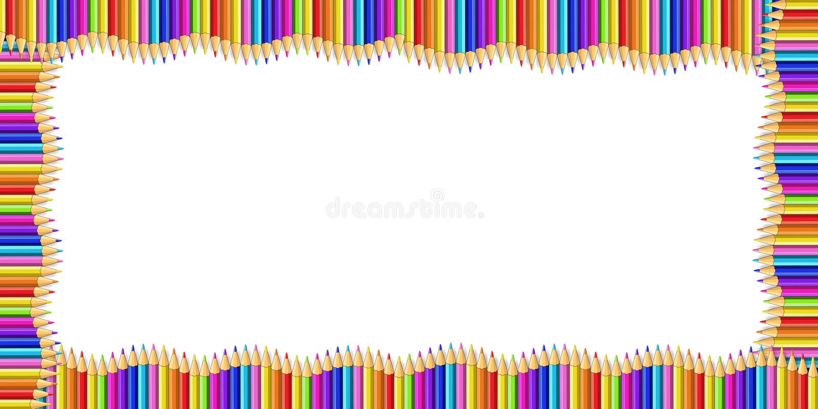 Vector rectangle border made of multicolored wooden pencils isolated on white background stock illustration