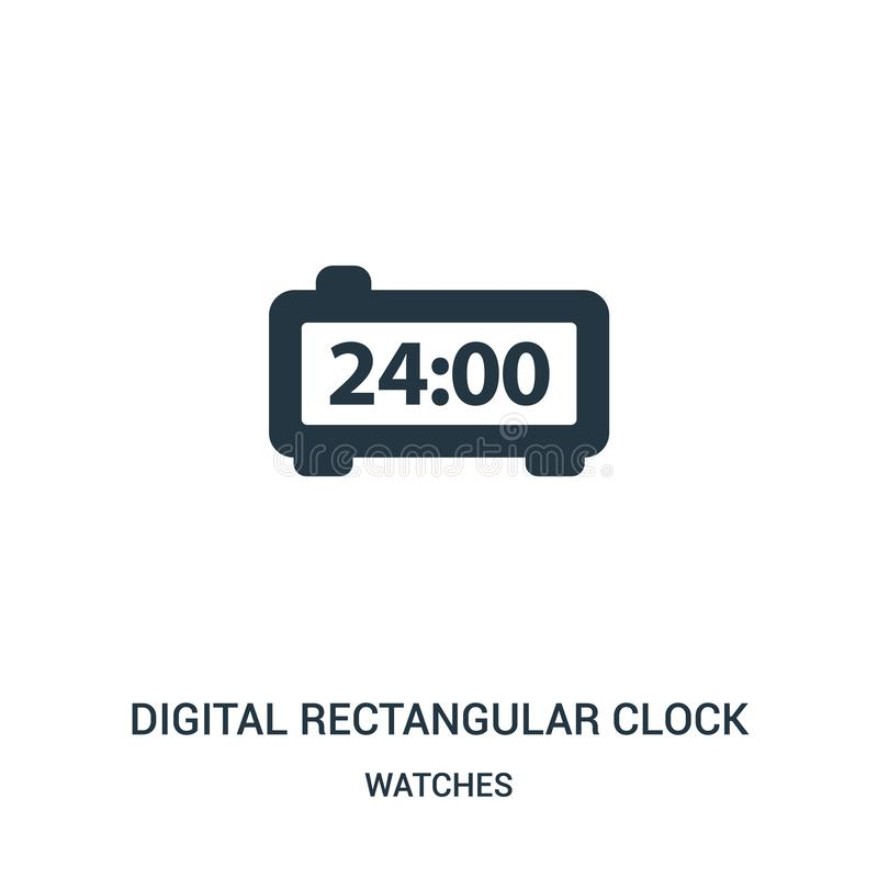 vector rectangular digital del icono del reloj de la colección de relojes Línea fina vector rectangular digital del icono del esq stock de ilustración