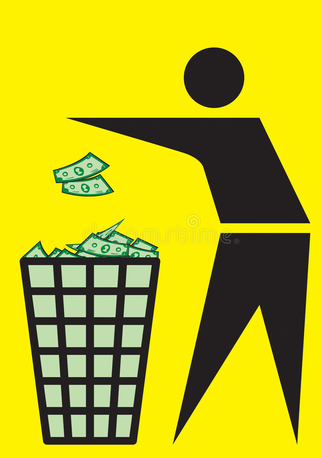 Vector Recycle. Trash is a money for recycle on the yellow background royalty free illustration