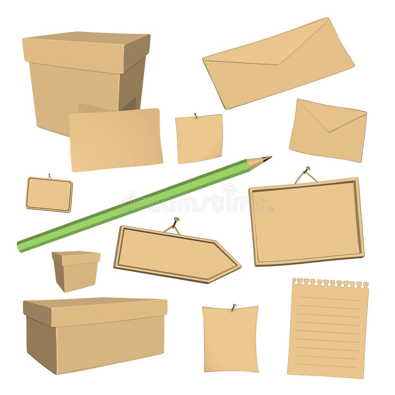 Vector recycled paper office elements stock illustration