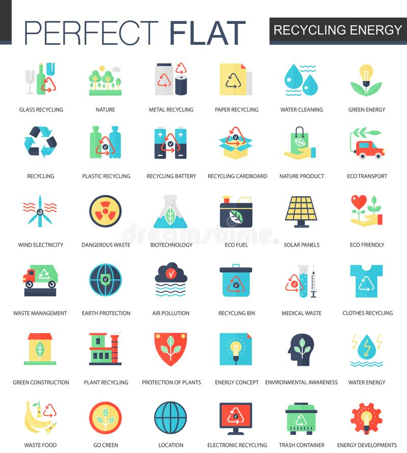 Vector Recycling energy complex flat icon concept. Web infographic icons design. vector illustration
