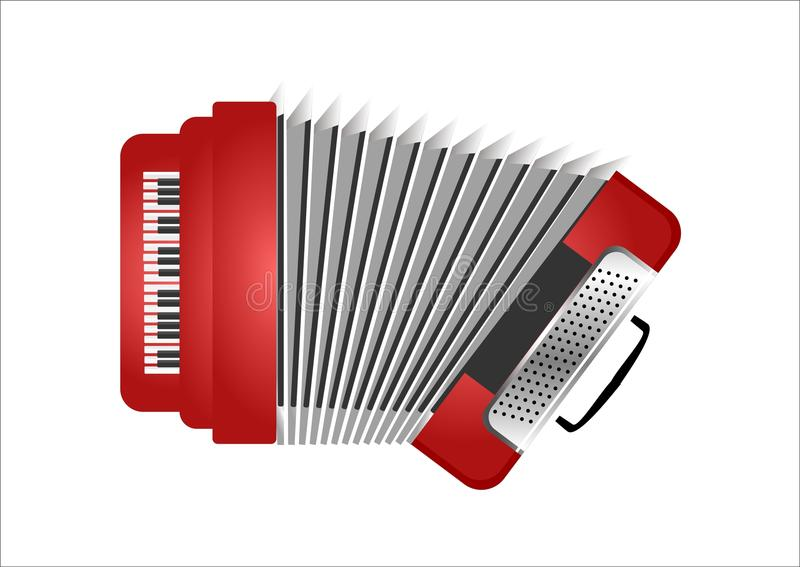 Vector Red Accordion. Music Instrument - Red Accordion Vector vector illustration