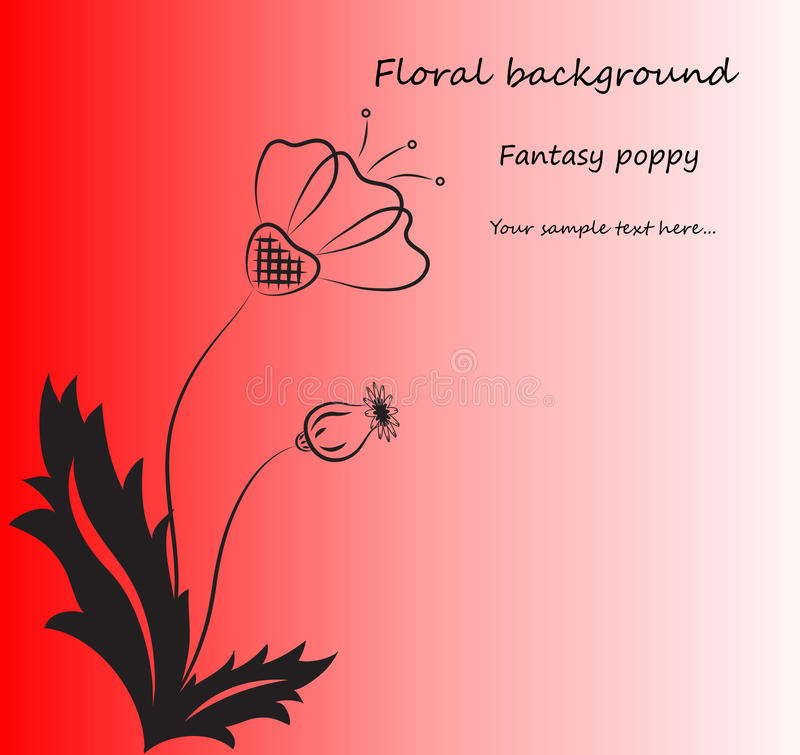 Download Vector Red Background With Fantasy Poppy. Royalty Free Stock Images - Image: 27035109