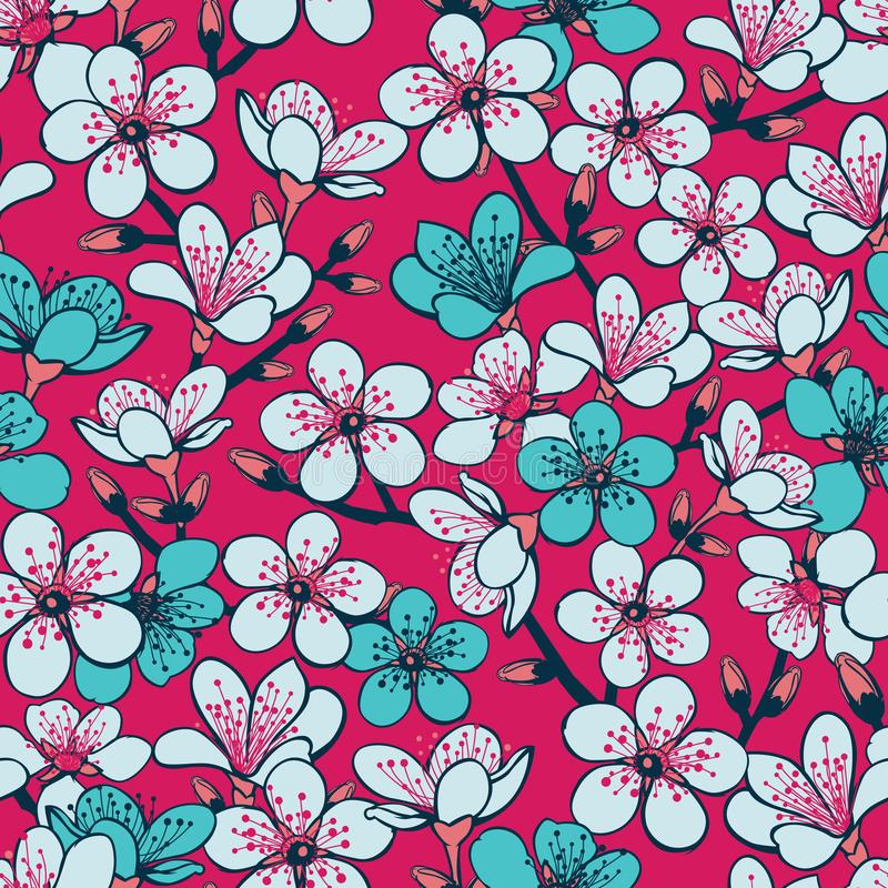 Vector red background with light grey and cyan cherry blossom sakura flowers and dark blue stems seamless pattern background. Surface pattern design stock illustration