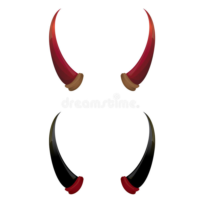 vector red and black devil horns isolated stock vector