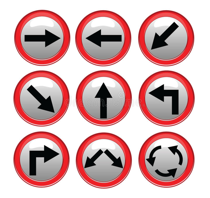 Vector Red Black Traffic Sign Isolated On Gray Background Royalty Free Stock Images